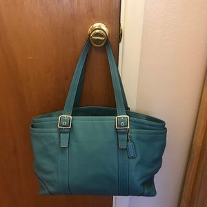 Coach leather turquoise laptop bag